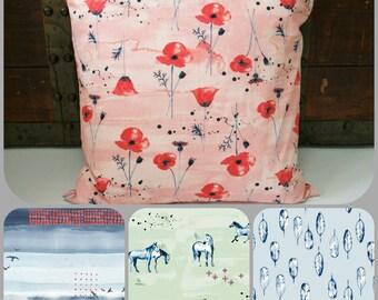 "Organic Throw Pillow Covers, Decorative Pillow Cover, 18"" x 18"" Pillow Cover, Sofa Pillow Cover, Floral, Sofa Pillow Sham, Housewarming Gift"