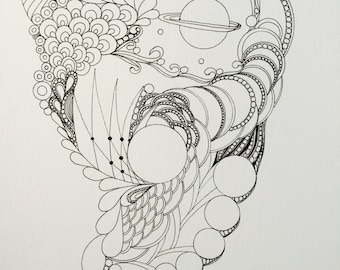 Zentangle space art,space art,zentangle art,black and white,ink space drawing, abstact zentangle, abstract art,