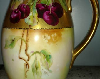 "Darcy's porcelain Hand Painted Artist Signed E. POE 8"" tall Pitcher Pickard Quality Cherries"