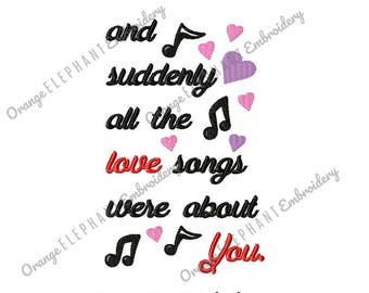Valentine's Day Love Songs Machine Embroidery Design Digital File
