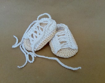 Baby gladiator Shoes, Baby Gladiator Sandals, Crochet Baby Shoes, White Baby Shoes, Newborn shoes, Crochet newborn shoes, Cotton Baby Shoes