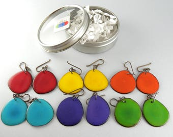 Primary Fashion Colors 6 Pair Compact Travel Pack Tagua Nut Eco Friendly Earrings with Free USA Shipping #taguanut #ecofriendlyjewelry