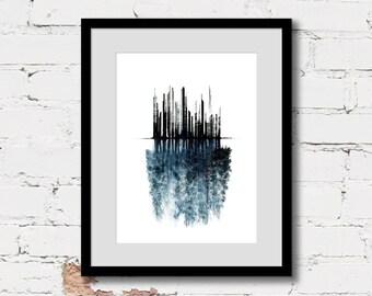 urban wall art print, forest illustration art, urban abstract art, blue art poster, conceptual art print, black blue modern contemporary art