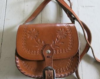 Tooled leather purse bag Crossover shoulder bag