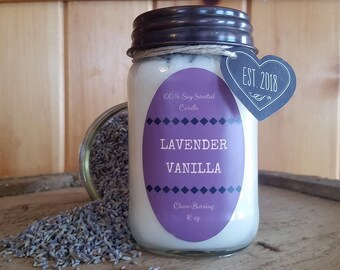 Lavender Vanilla Candle// All Natural Soy Candle// Lavender Candle// Stress-relief Candle// Vanilla Candle// Stress Candle// Summer Candle
