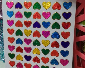 Sparkle Prismatic Rainbow Heart Stickers