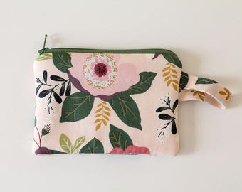 pretty in pink, gift card holder, zipper pouch, Coin purse, Minimalist pocket wallet, Change purse, cash wallet, mini,earbud case,Floral bag