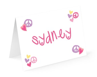 Peace Love Personalized Note cards with matching address labels