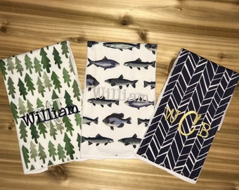 Set of 3 Personalized Burp Cloths - Forest, Fish & Navy Herringbone