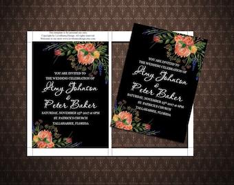 Black and Flowers Wedding Invitation, Printable Wedding Invitation, Digital Invitation, Microsoft Word, code-036