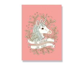 SALE Be Unique Unicorn A4 Illustration Print - 80% off