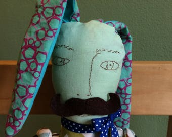 Button joint bunny mustache doll