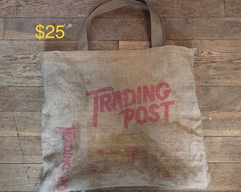 Genuine VINTAGE Railroad potato sack burlap bag TOTE