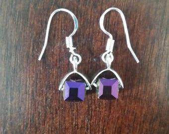 Crystal earrings, Cube earrings, Purple earrings, Dangle earrings, Women's earrings, Gifts for her, Gifts under 20