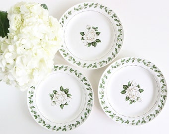 White Appetizer Plates, Set Of 3 - Hall China - Spring Plates - White Roses - Lunch Plates - Tea Plates - Dinner Plates - Dessert Plates