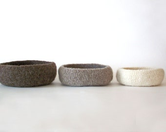 Nesting Bowls - Felted Bowl Set - Brown / Tan / Light Brown / Cream / Small / Medium / Large / Travel Tray
