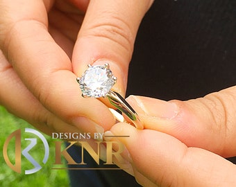 Large 14k solid yellow gold round cut moissanite engagement ring solitaire, bridal set, wedding, anniversary 3.00ctw
