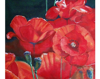 Red French Poppies Flower Blooming Close-up, Coquelicots,Original illustration Artist Print Wall Art, Free Shipping in USA.