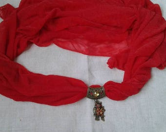 pretty red scarf and a couple of owls