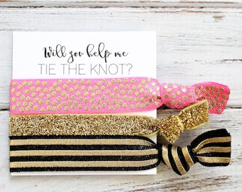 Bridesmaid Hair Ties | Bridesmaid Gift | Will You Help Me Tie The Knot | Hot Pink Gold Polka Dots Black Stripe | Wedding Favors