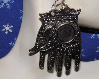 Day of the Dead Earrings, Sterling Silver and Pewter Hand Jewelry, Hamsa Jewelry, Dia de los Muertos Jewelry, Steampunk Earrings