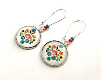 Earrings dangle or stud earring, Polish folk pattern, colorful flowers, silver metal.