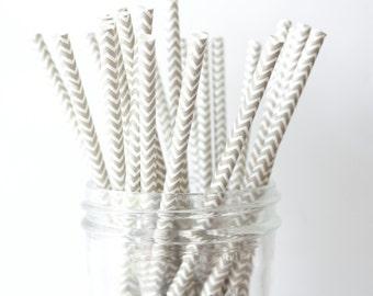 Grey Chevron Straws, Grey Paper Straws 25, Grey Wedding Decor, Grey Straw, Rustic Wedding, Party Straws, Wedding Bar Straws