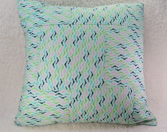 Patchwork Pillow, 16x16, Multicolor Pillow, Quilted Pillow, Pillow and Form, Birthday Gift