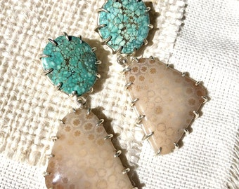 Fossilized Coral & Turquoise Earrings