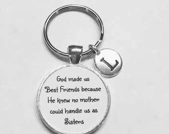 Initial Keychain, Best Friend Gift, Best Friend Keychain, God Made Us Best Friends, Choose Initial Keychain