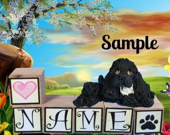 Black Cocker Spaniel dog PERSONALIZED with your dog's name on blocks by Sally's Bits of Clay