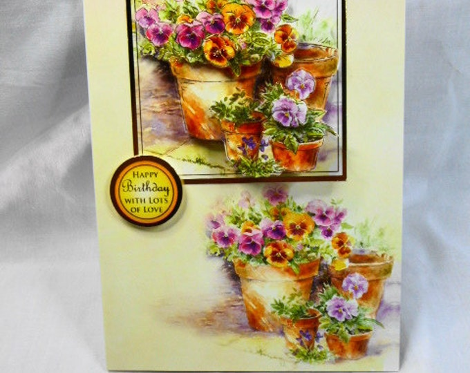 Spring Flowers Birthday Card, Greeting Card, 3D Decoupage, Female Card, Flowers in Flower Pots, Mum, Daughter, Sister, Niece, Aunt, Gran
