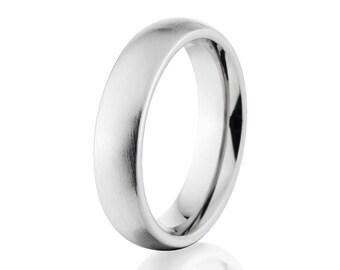 Cobalt Chrome Rings, Cobalt Wedding Band, 5mm Cobalt Ring USA Made Wedding Ring : CB-5HR-B