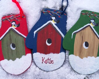 Christmas Ornament / Personalized Birdhouse Ornament  / Hand Painted Mitten Ornament