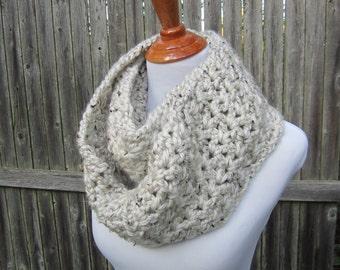 Crochet Infinity Scarf, Winter Scarf, Oatmeal scarf, Women's Crochet Fashion Scarf, Chunky Infinity Scarf by CROriginals