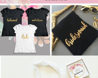Bridal Tshirts - Bridesmaid Shirts - Bridesmaid Gifts Gold Bridesmaid T shirts (EB3160BPW)