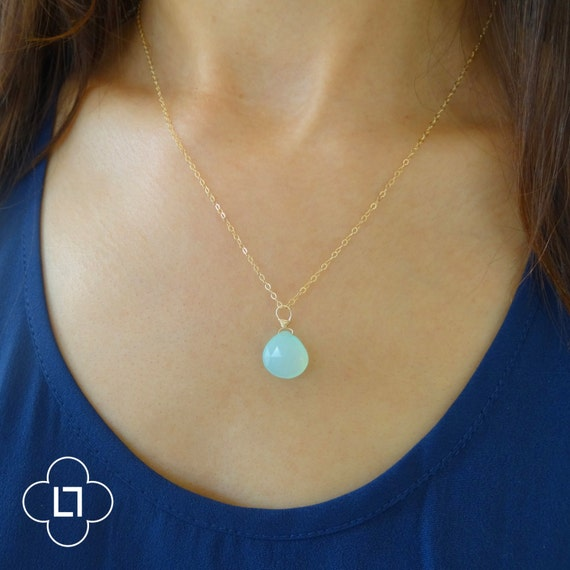 Delicate Mint Blue Chalcedony Necklace