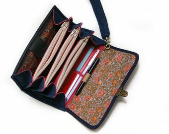 Large Envelope System Wallet Clutch and Coupon Organizer in Navy Blue and Peach Bird Boho Design, Roomy Budget System READY TO SHIP