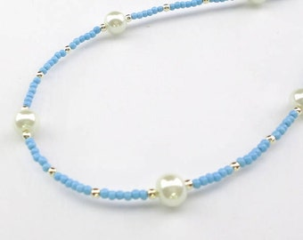 blue necklace, pale blue necklace, pastel necklace, pearl necklace, delicate necklace, cornflower blue, summer necklace