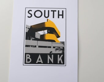 London South Bank 3 colour screenprint on A3