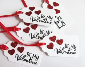 Be My Valentine Tag, Hand Stamped Be My Valentine Tags, Red Glitter Hearts, Valentine Favor Tags, Valentine's Day Favor Tags ,Valentine tag