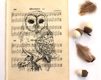 Barn Owl Print, Bird Print, Barn Owl Gocco Print on Vintage Music Paper