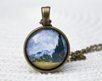 Van Gogh Pendant, Wheatfield with Cypresses, Van Gogh Wheatfield, Van Gogh Jewellery, Van Gogh Necklace, Gifts for Her, Everyday Necklace