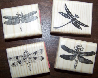 Lot of 4 New Mounted Rubber Stamps - Dragonfly, Dragonflies
