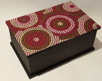 Sugar inspiration Aboriginal painting hand painted wooden box