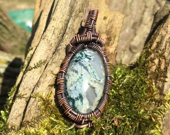 The Mossy Rock Moss Agate Pendant Wire Wrapped Necklace Jewelry