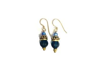 Glass Dangle Artisan Gold Earrings