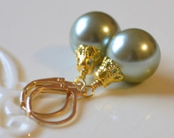Sage Green Glass Pearl Earrings, Christmas Balls, Gold Plated Lever Earwires, Fun Holiday Jewelry