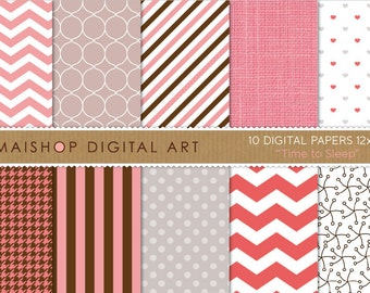 Digital Paper 'Time to Sleep' Pink, Gray, Chocolate Brown... Polka Dots, Chevron, Stripes, Linen, Hearts, Houndstooth...