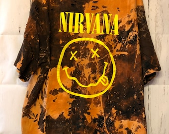 Bleached and Ripped Distressed Nirvana Shirt
